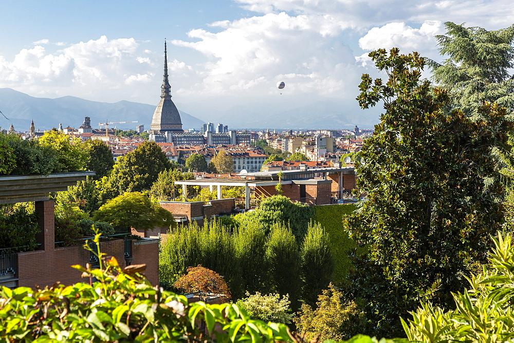 View of Turin from near Santa Maria del Monte dei Cappuccini, Turin, Piedmont, Italy, Europe