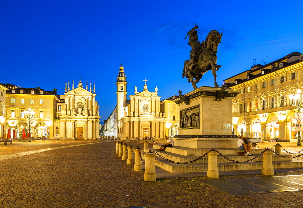 View of Emanuele Filiberto statue in Piazza San Carlo at night, Turin, Piedmont, Italy, Europe