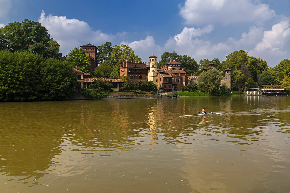 View of Borgo Medievale, Medievel Village and Po River, Turin, Piedmont, Italy, Europe