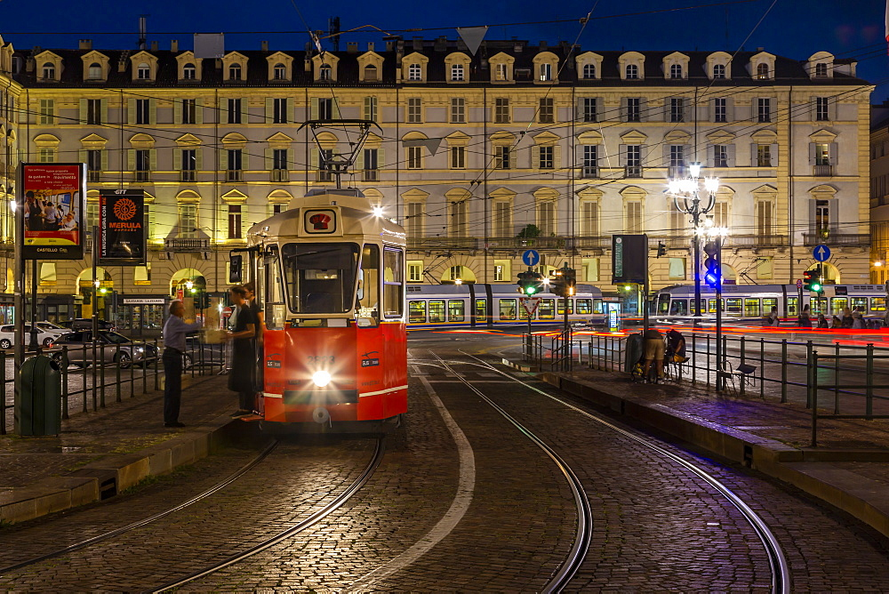 View of tram in Piazza Castello at dusk, Turin, Piedmont, Italy, Europe - 844-17959