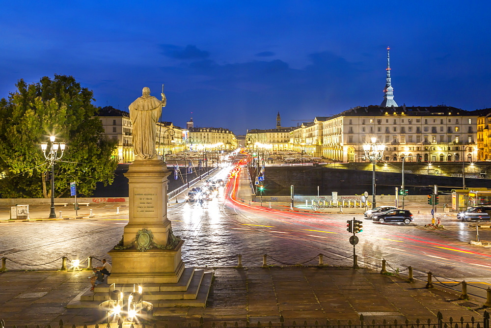 View of Pont Vittorio Emanuele from Church Gran Madre Di Dio at dusk, Turin, Piedmont, Italy, Europe