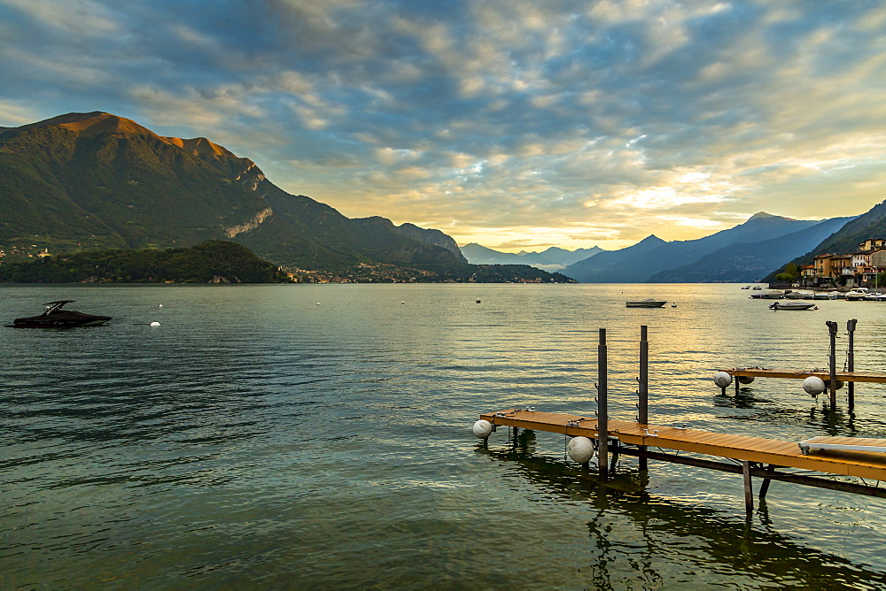 View of Lake Como from Lezzeno at dawn, Province of Como, Lake Como, Lombardy, Italian Lakes, Italy, Europe