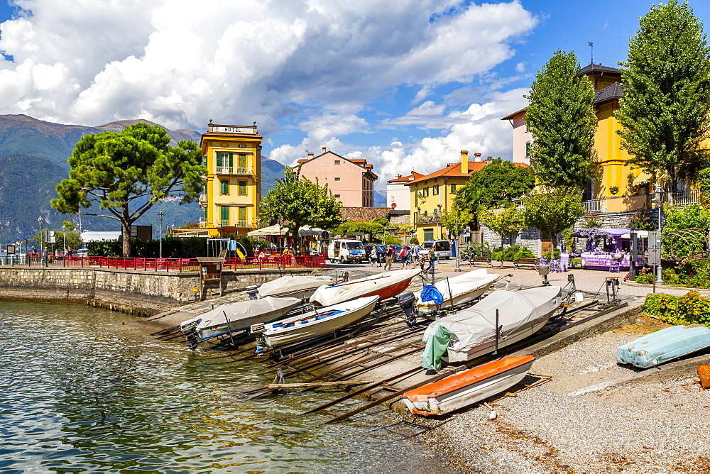 View of boats in harbour in Vezio, Province of Como, Lake Como, Lombardy, Italy, Europe