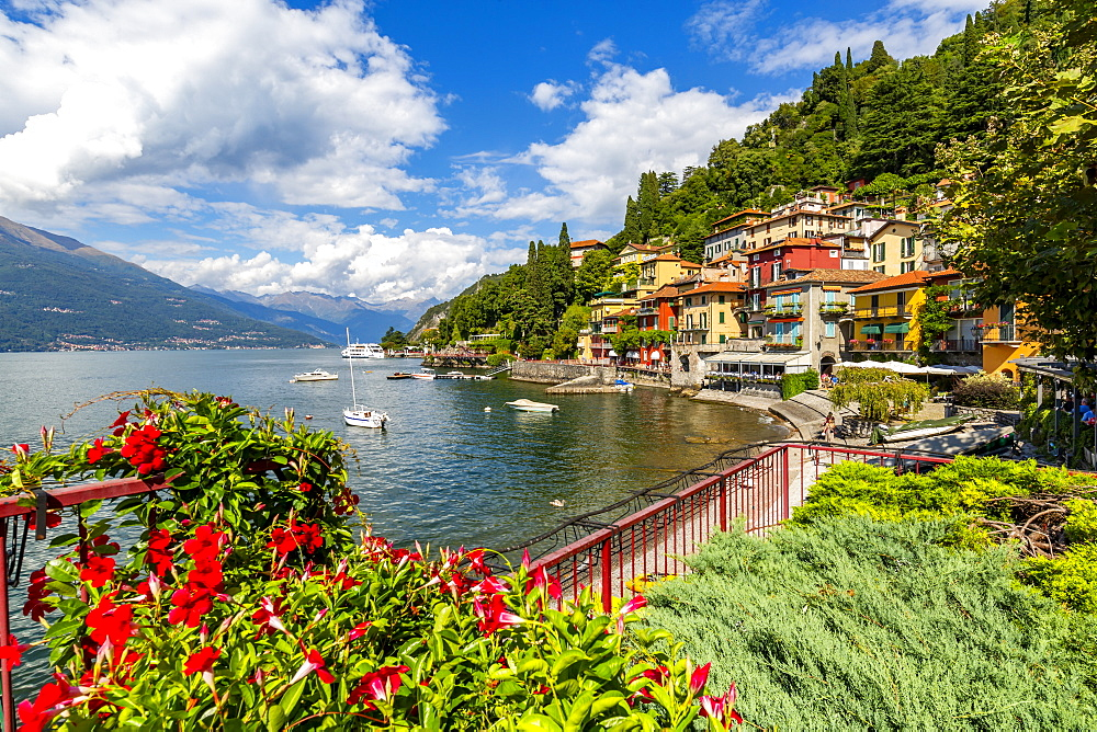 View of Lake Como and village of Vezio, Province of Como, Lake Como, Lombardy, Italy, Europe - 844-17979