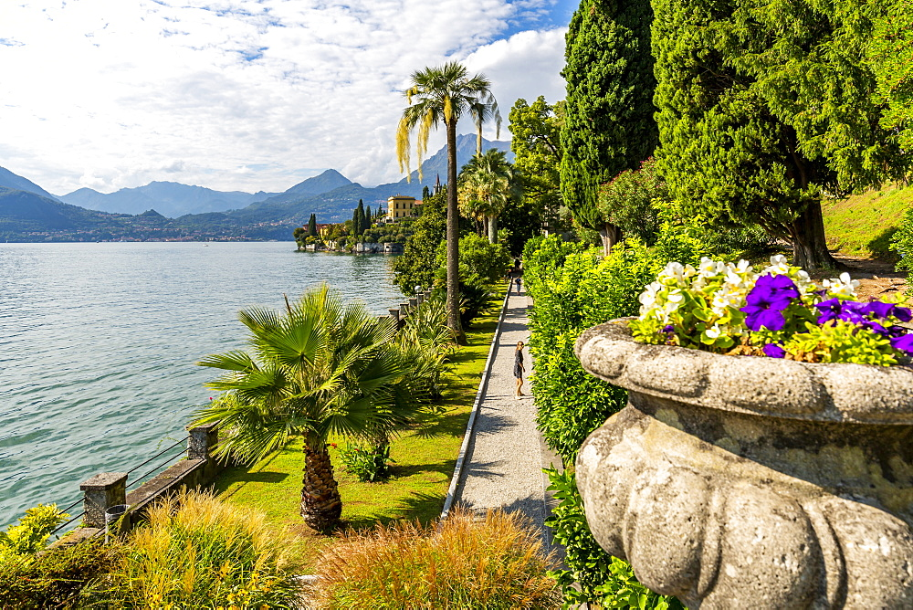 View of lake from Botanical Gardens in the village of Vezio, Province of Como, Lake Como, Lombardy, Italian Lakes, Italy, Europe