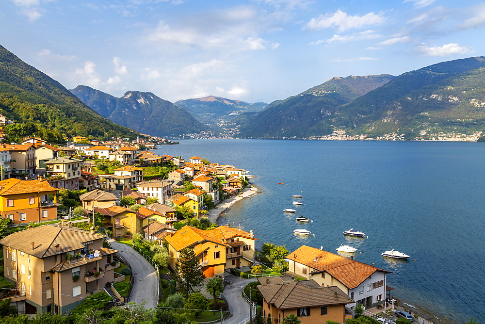 View of Lake Como village of Lezzeno, Province of Como, Lake Como, Lombardy, Italian Lakes, Italy, Europe