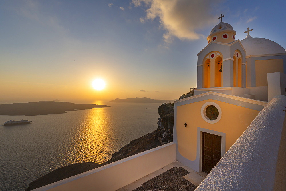 View of Fira and Greek Church of Saint Stylianos, Firostefani, Santorini (Thira), Cyclades Islands, Greek Islands, Greece, Europe
