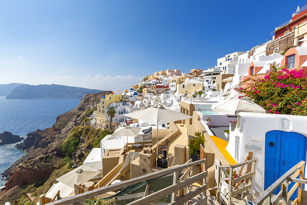 View of Oia village, Santorini, Cyclades, Aegean Islands, Greek Islands, Greece, Europe