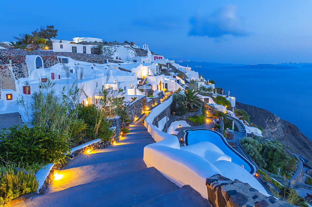 View of Oia village at dusk, Santorini, Cyclades, Aegean Islands, Greek Islands, Greece, Europe