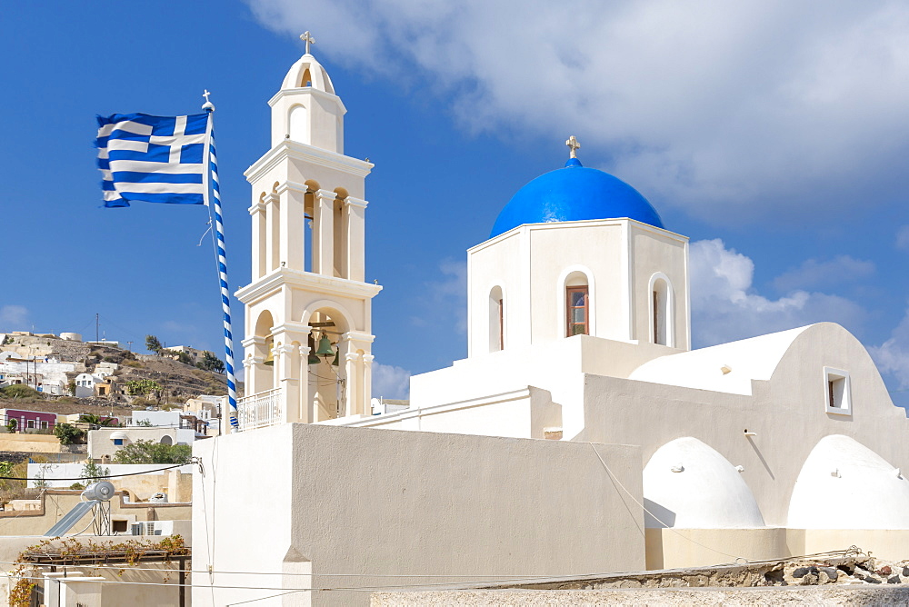 View of church Agia Throdosia, Akrotiri, Thira, Santorini, Cyclades Islands, Greece, Europe