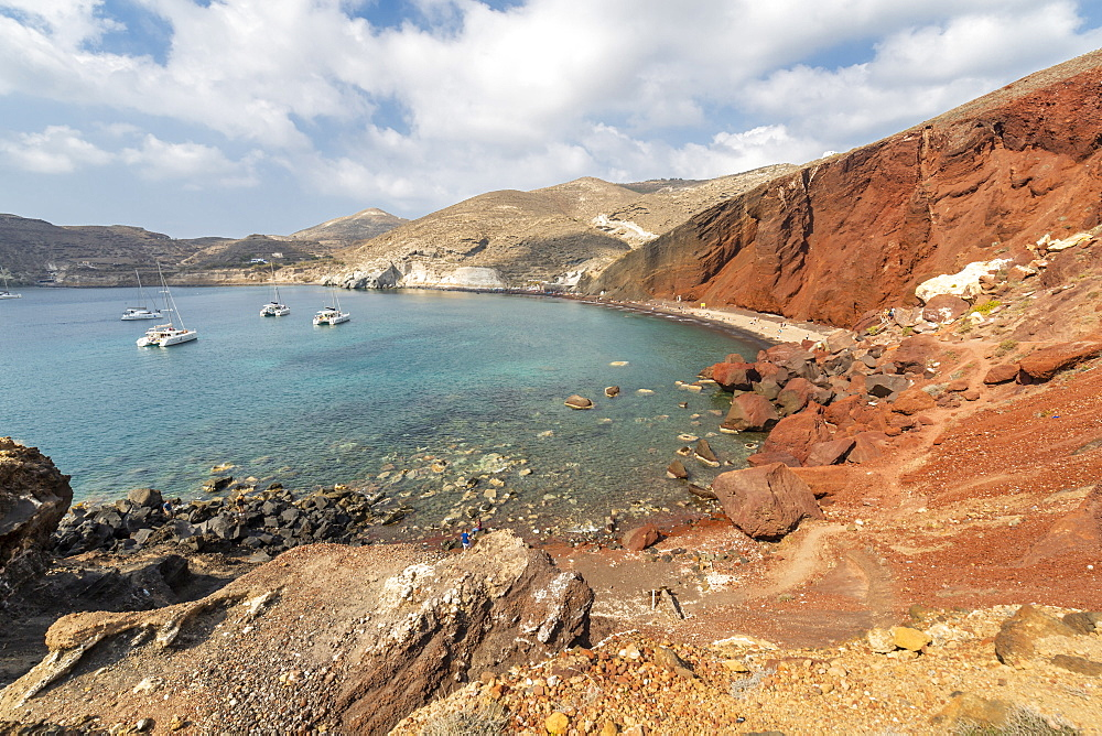 View of Red Beach, Akrotiri, Thira, Santorini, Cyclades Islands, Greece, Europe