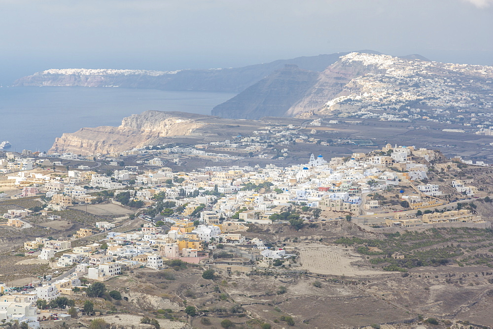 View of Pyrgos from Moni Profitou Iliou, Thira, Santorini, Cyclades Islands, Greece, Europe