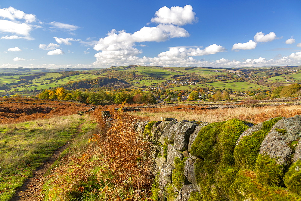 View of Calver from Curbar Edge during autumn, Derbyshire, Peak District National Park, England, United Kingdom, Europe