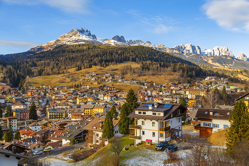View of Moena in winter, Province of Trento, South Tyrol, Italy, Europe
