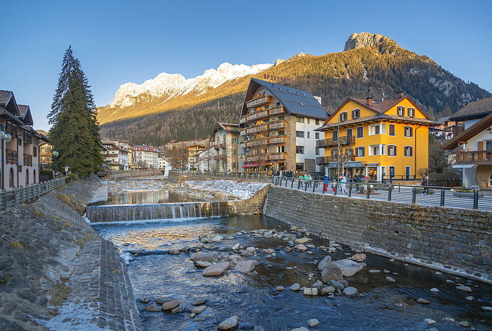 View of Moena and Avisio River in winter, Province of Trento, South Tyrol, Italy, Europe