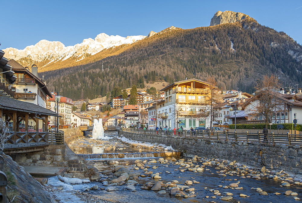 View of Moena and Avisio River in winter, Province of Trento, South Tyrol, Italy, Europe - 844-18852
