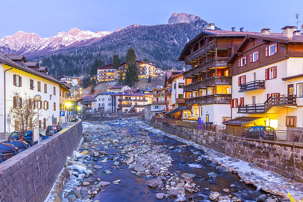 View of Moena and Avisio River in winter, Province of Trento, South Tyrol, Italy, Europe - 844-18854
