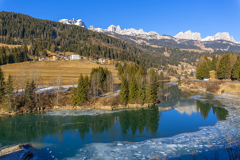 View of Avisio River towards Soraga in winter, Province of Trento, South Tyrol, Italy, Europe - 844-18858