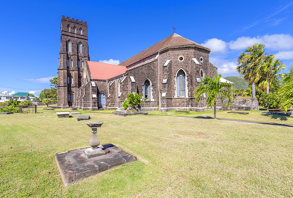 View of Saint George with Saint Barnabas Anglican Church, Basseterre, St Kitts & Nevis, West Indies, Caribben, Central America