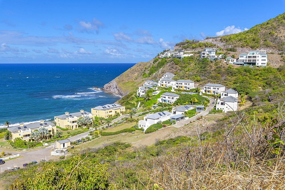 View of Kittian Village and Caribbean Sea, St Kitts & Nevis, West Indies, Caribben, Central America