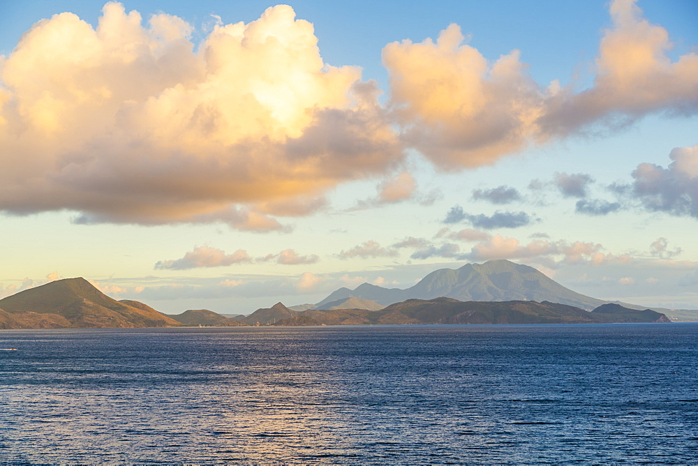 View of Nevis Peak and Caribbean Sea, St Kitts & Nevis, West Indies, Caribben, Central America