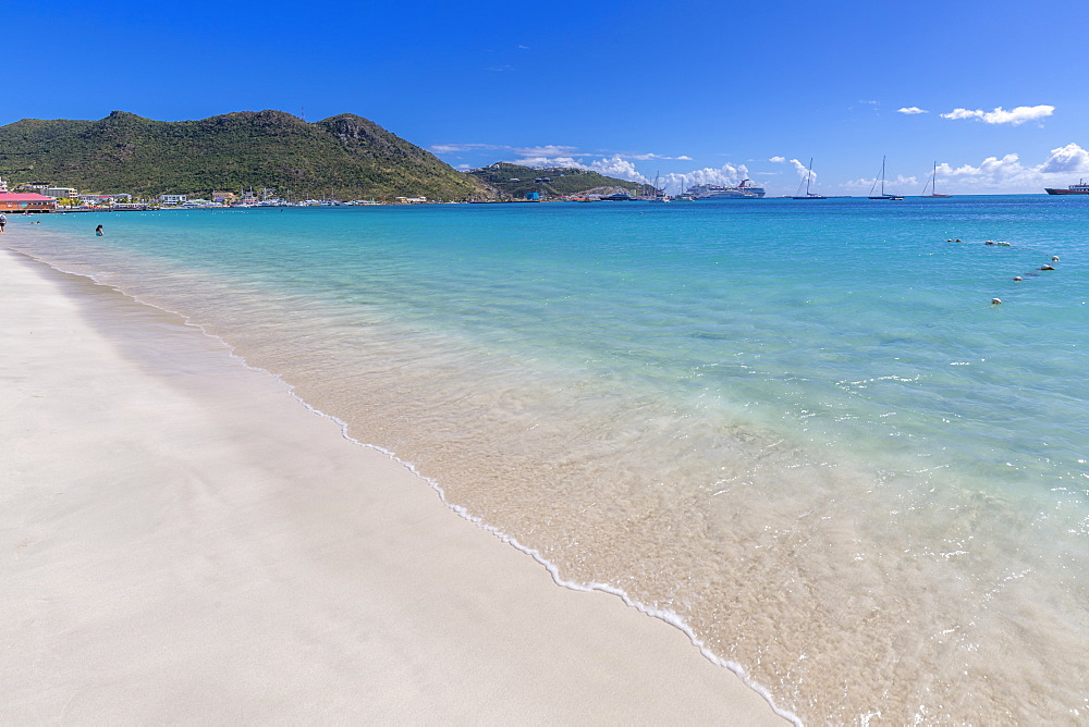 View of beach and Caribbean Sea, Philipsburg, St. Maarten, Leeward Islands, West Indies, Caribbean, Central America