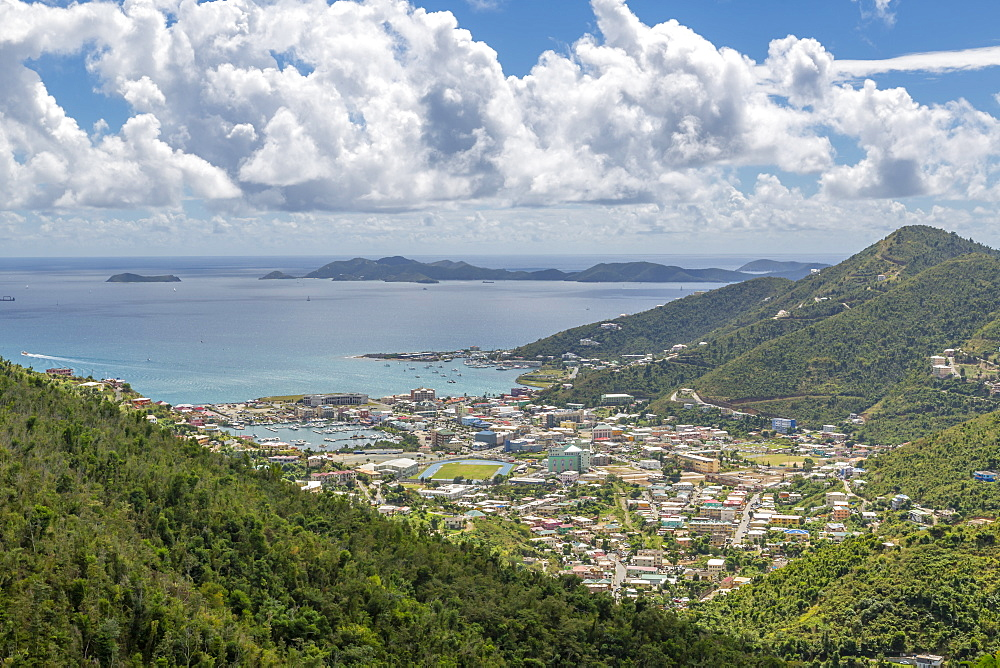 Elevated view of Road Town, Tortola, British Virgin Islands, West Indies, Caribbean, Central America