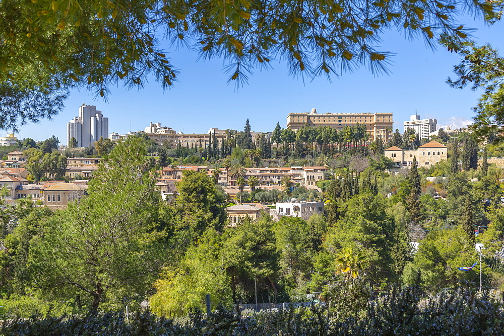 Rehavia District viewed from Old City Wall, Old City, UNESCO World Heritage Site, Jerusalem, Israel, Middle East