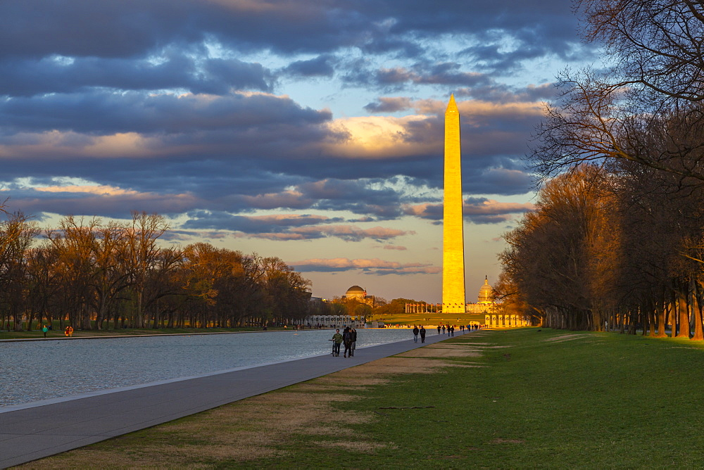 View of Lincoln Memorial Reflecting Pool and Washington Monument at sunset, Washington D.C., United States of America, North America