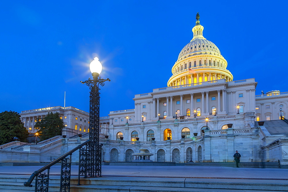 View of the United States Capitol Building at dusk, Washington D.C., United States of America, North America