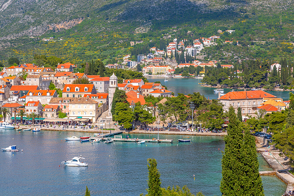 View of old town of Cavtat and Adriatic Sea from an elevated position, Cavtat, Dubronick Riviera, Croatia, Europe