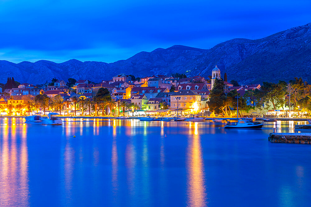 View of town and Crkva Sv.Nikole church at dusk, Cavtat on the Adriatic Sea, Cavtat, Dubronick Riviera, Croatia, Europe