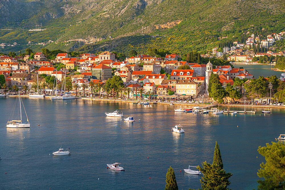 View of town at sunset from elevated position, Cavtat on the Adriatic Sea, Cavtat, Dubronick Riviera, Croatia, Europe