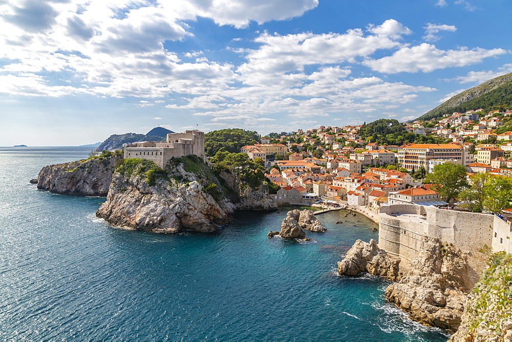 View of Fort Lovrijenac and Dubrovnik and Adriatic Sea, Dubrvnik, Dalmatia, Croatia, Europe