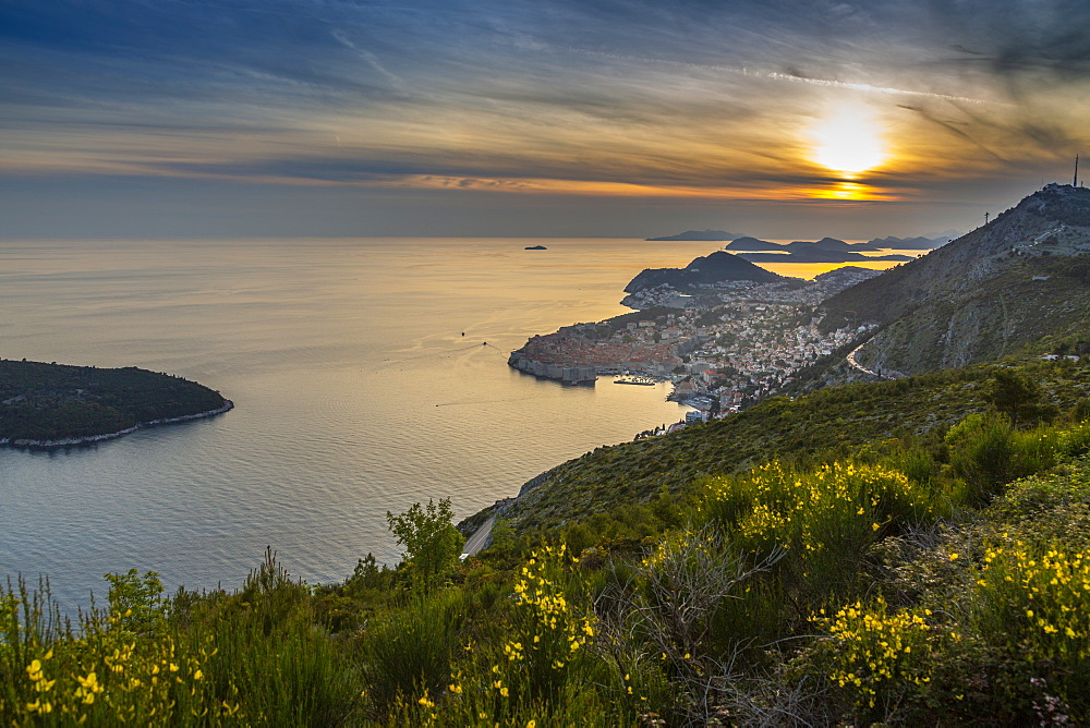 Panoramic view of the Old Walled City of Dubrovnik at sunset, Dubrovnik Riviera, Croatia, Europe