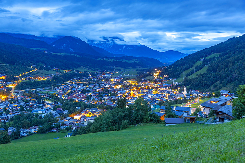 Panoramic view of Schladming town at dusk, Styria, Austrian Tyrol, Austria, Europe