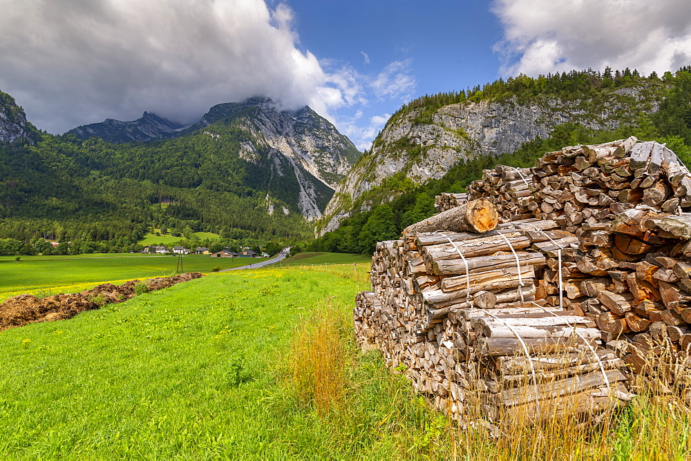 Wood stock piles and mountains, Unterburg, Styria, Tyrol, Austrian Alps, Austria, Europe
