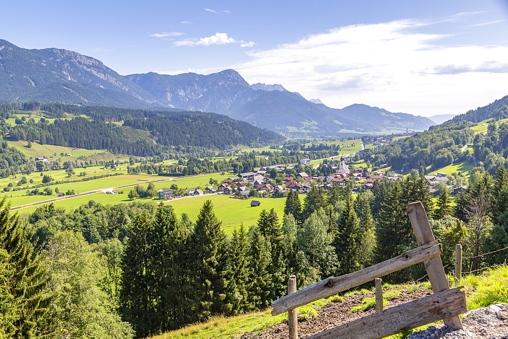 View of valley and surrounding mountains, Oberhaus, Styria, Austrian Alps, Austria. Europe