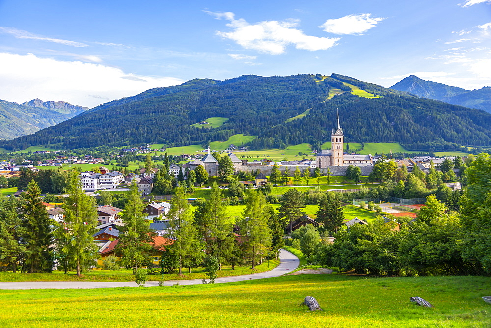 View of surounding countryside, mountains from Radstadt, Radstadt, Styria, Austria, Europe