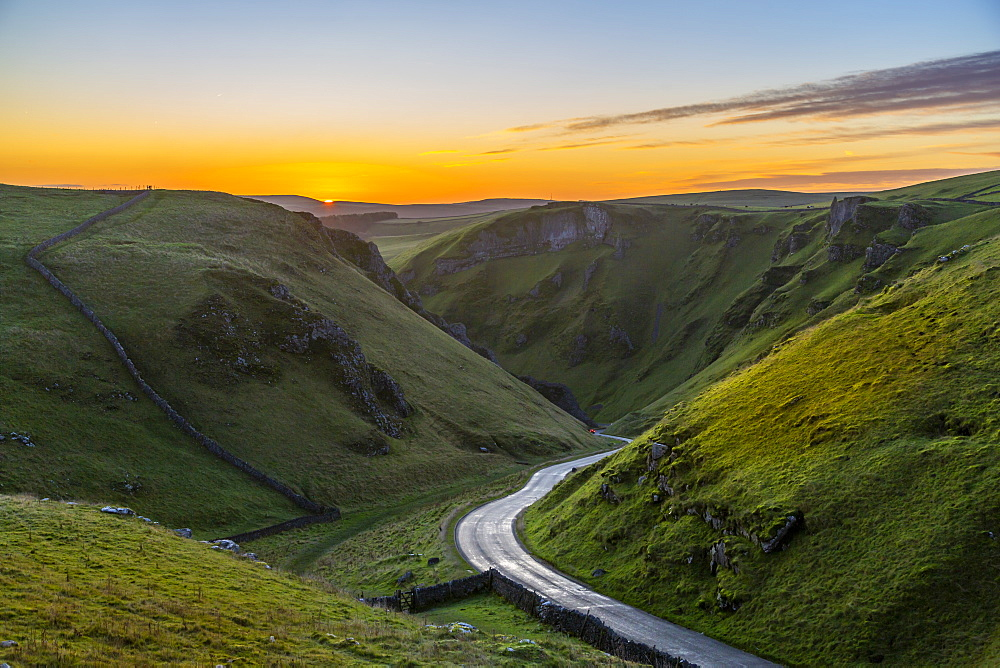 View of Winnats Pass at sunrise, Castleton, Derbyshire, Peak District National Park, England, United Kingdom, Europe