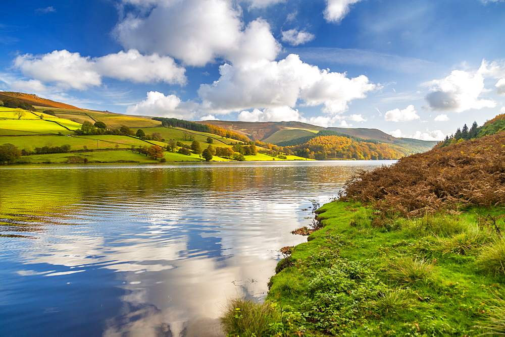 View of autumn colours at Ladybower Reservoir, Derbyshire, Peak District National Park, England, United Kingdom, Europe - 844-21819