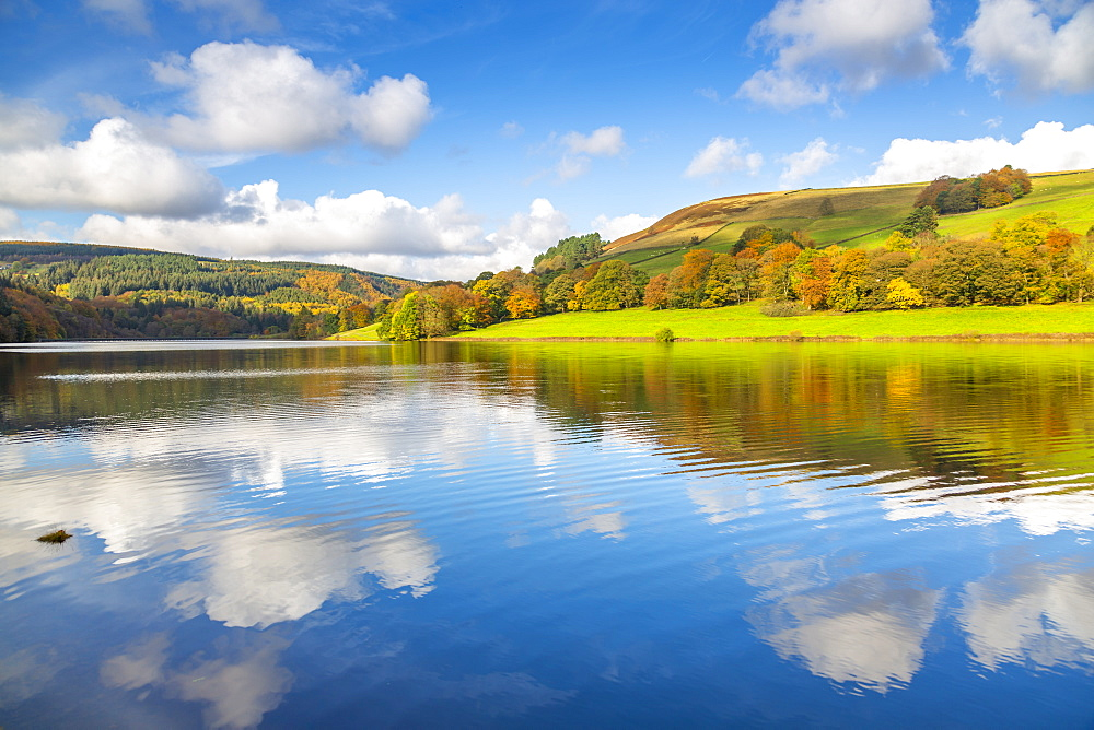 View of autumn colours at Ladybower Reservoir, Derbyshire, Peak District National Park, England, United Kingdom, Europe