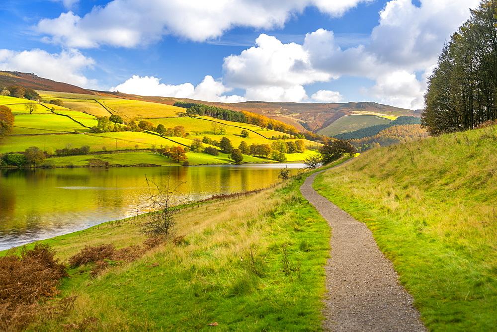 View of autumn colours at Ladybower Reservoir, Derbyshire, Peak District National Park, England, United Kingdom, Europe - 844-21821