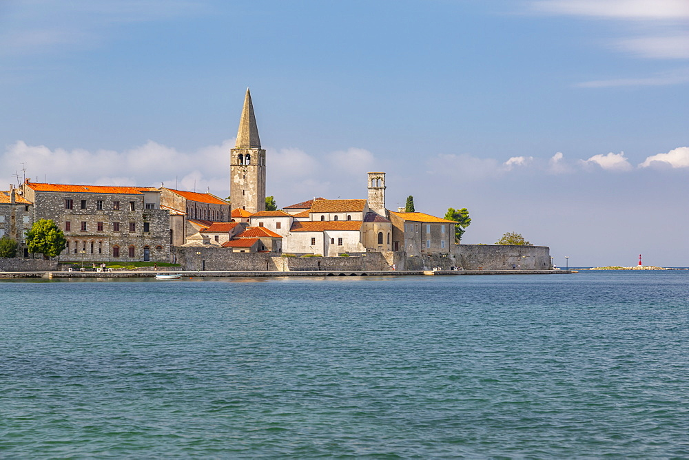 View of Old Town of Porec and Adriatic Sea, Porec, Istria Region, Croatia, Europe