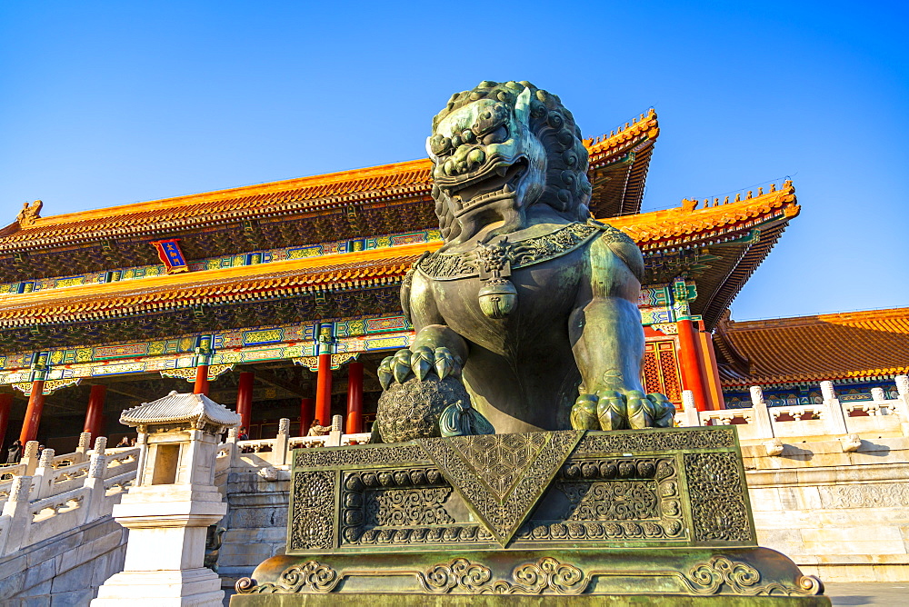 Dragon sculpture in the Forbidden City at sunset, UNESCO World Heritage Site, Xicheng, Beijing, People's Republic of China, Asia - 844-21836