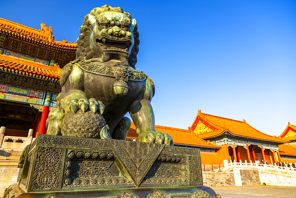 Dragon sculpture in the Forbidden City at sunset, UNESCO World Heritage Site, Xicheng, Beijing, People's Republic of China, Asia - 844-21837