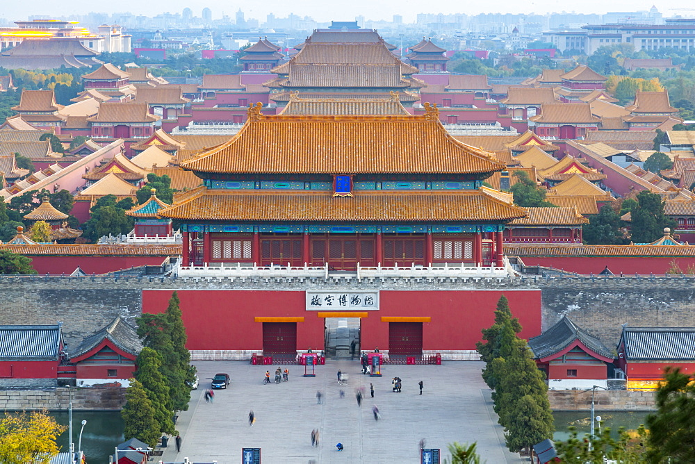 View of the Forbidden City, UNESCO World Heritage Site, from Jingshan Park at sunset, Xicheng, Beijing, People's Republic of China, Asia - 844-21844