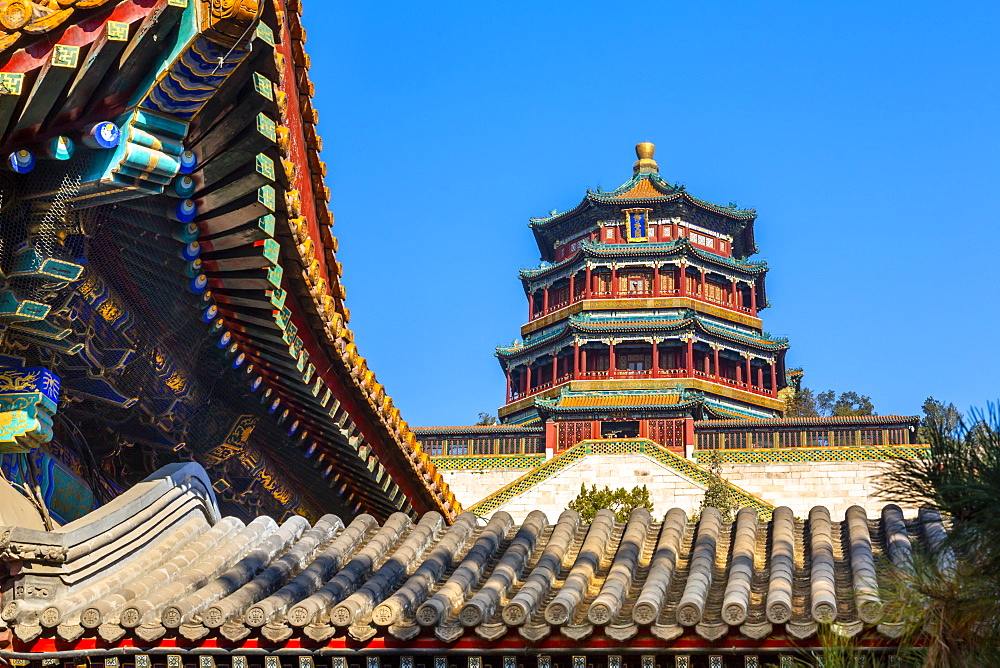 View of Tower of Buddhist Incense on Longevity Hill, Summer Palace, Beijing, People's Republic of China, Asia