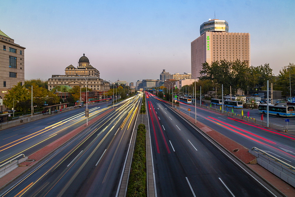 Traffic trail lights on major road near Beijing Zoo at dusk, Beijing, People's Republic of China, Asia - 844-21884