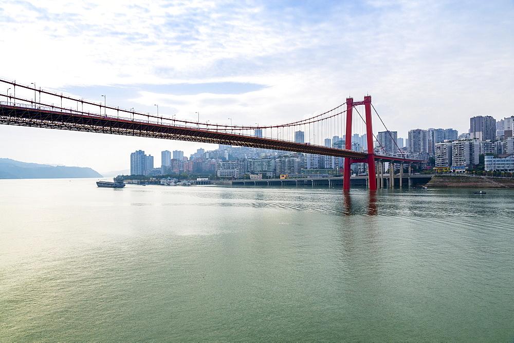View of suspension bridge over the Yangtze River near Wanzhou, Chongqing, People's Republic of China, Asia